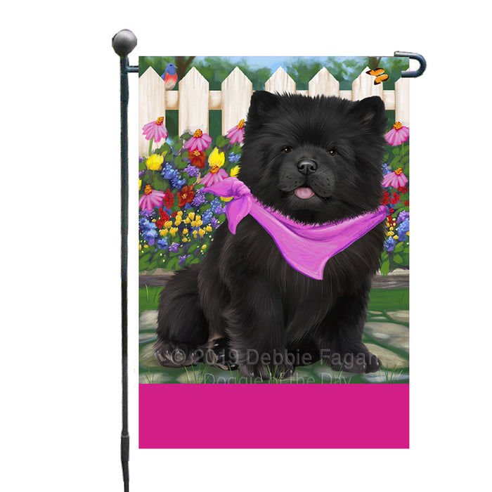 Personalized Spring Floral Chow Chow Dog Custom Garden Flags GFLG-DOTD-A62826