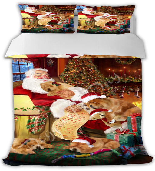 Santa Sleeping with Chow Chow Dogs Bed Duvet Cover DVTCVR49575
