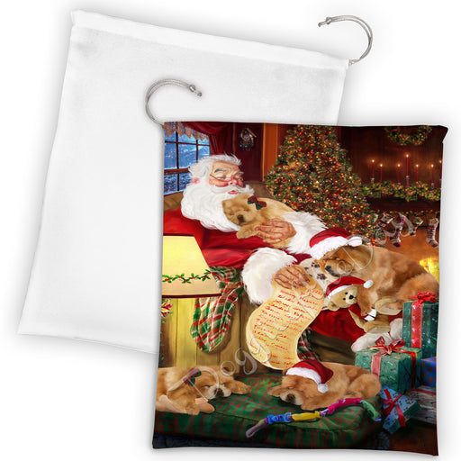 Santa Sleeping with Chow Chow Dogs Drawstring Laundry or Gift Bag LGB48799