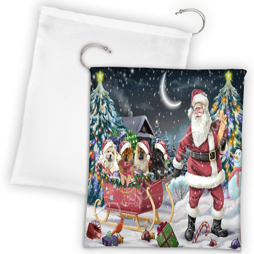 Santa Sled Dogs Christmas Happy Holidays Chow Chow Dogs Drawstring Laundry or Gift Bag LGB48689