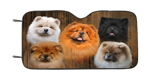 Rustic Chow Chow Dogs Car Sun Shade