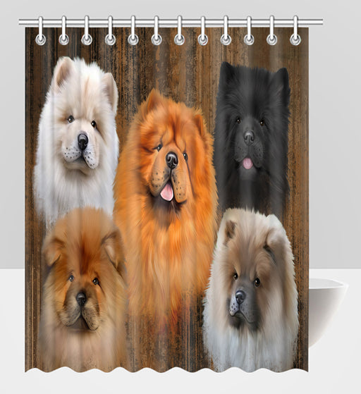 Rustic Chow Chow Dogs Shower Curtain
