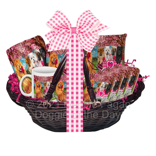 Mother's Day Gift Basket Chow Chow Dogs Blanket, Pillow, Coasters, Magnet, Coffee Mug and Ornament