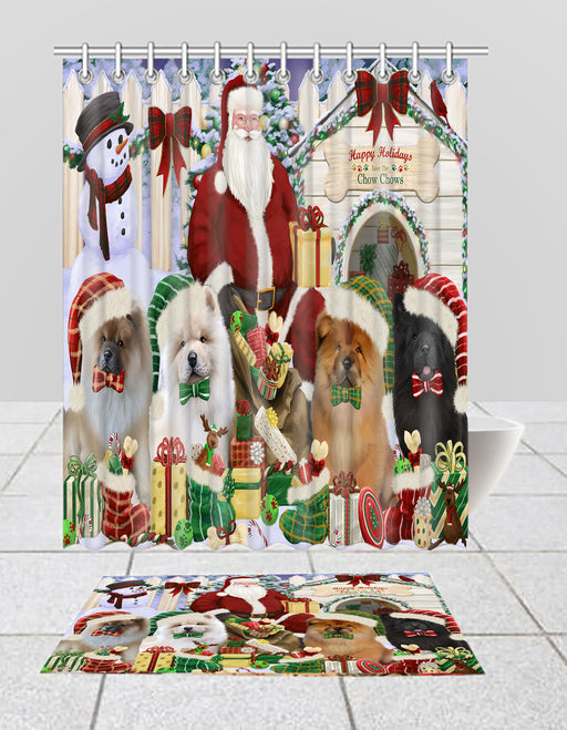Happy Holidays Christmas Chow Chow Dogs House Gathering Bath Mat and Shower Curtain Combo
