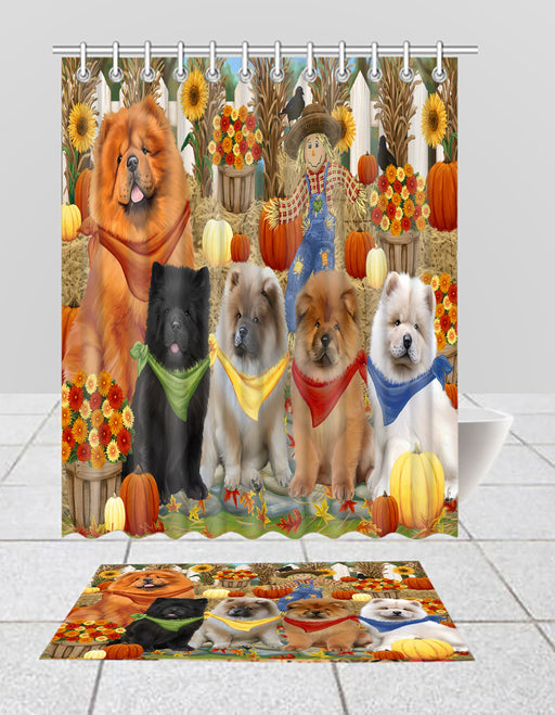 Fall Festive Harvest Time Gathering Chow Chow Dogs Bath Mat and Shower Curtain Combo