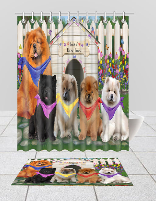Spring Dog House Chow Chow Dogs Bath Mat and Shower Curtain Combo