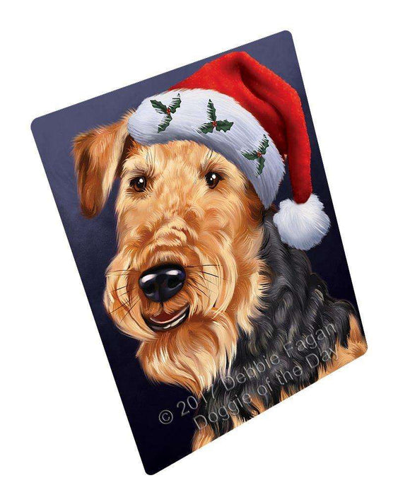 Christmas Airedales Dog Holiday Portrait with Santa Hat Art Portrait Print Woven Throw Sherpa Plush Fleece Blanket