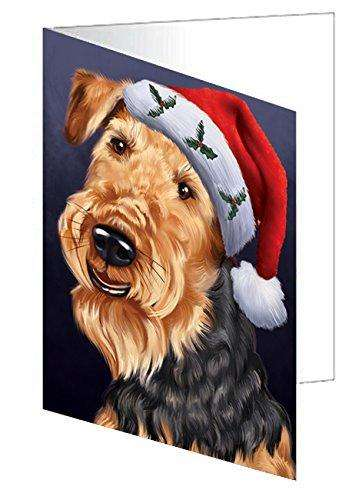 Christmas Airedales Dog Holiday Portrait with Santa Hat Note Card