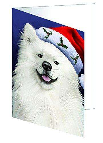 Christmas American Eskimo Dog Holiday Portrait with Santa Hat Greeting Card