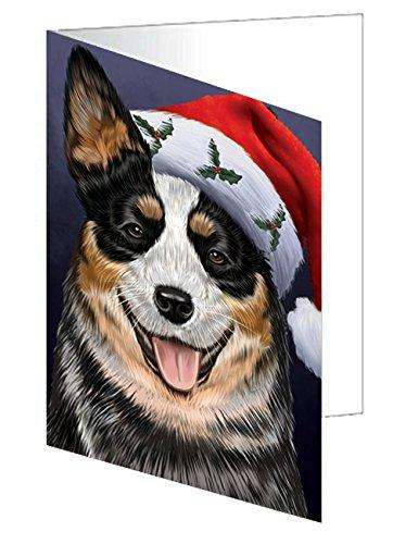 Christmas Australian Cattle Dog Holiday Portrait with Santa Hat Note Card