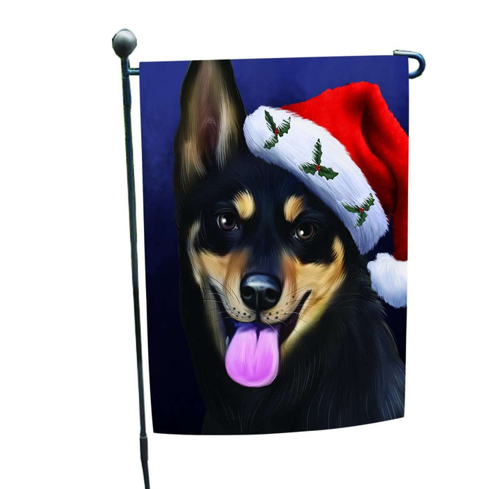 Christmas Australian Kelpies Dog Holiday Portrait with Santa Hat Garden Flag
