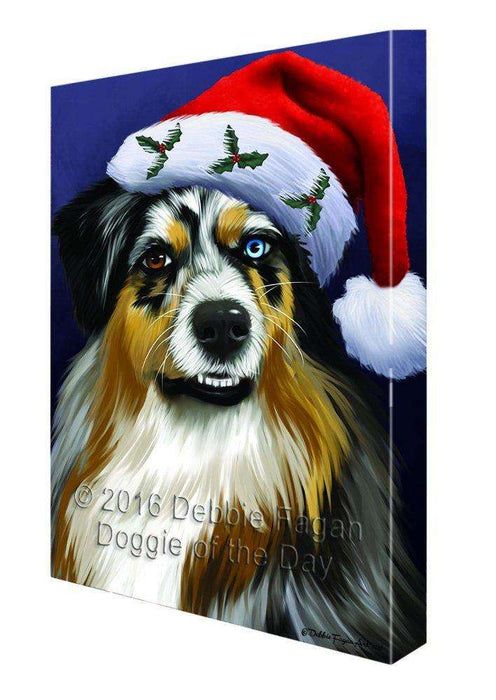 Christmas Australian Shepherd Dog Holiday Portrait with Santa Hat Canvas Wall Art D003 (8x10)