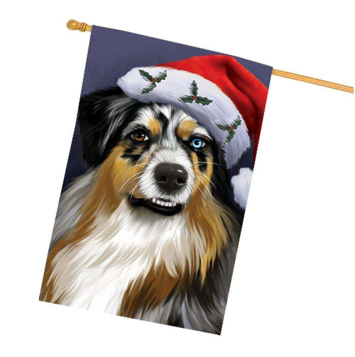 Christmas Australian Shepherd Dog Holiday Portrait with Santa Hat House Flag