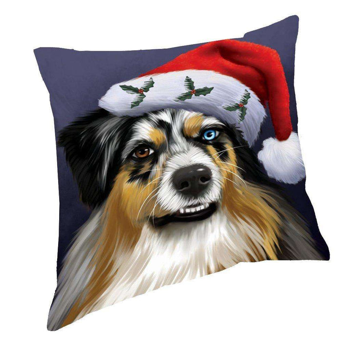 Christmas Australian Shepherd Dog Holiday Portrait with Santa Hat Throw Pillow