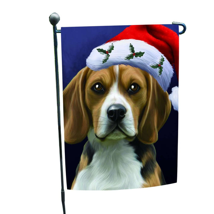 Christmas Beagles Dog Holiday Portrait with Santa Hat Garden Flag