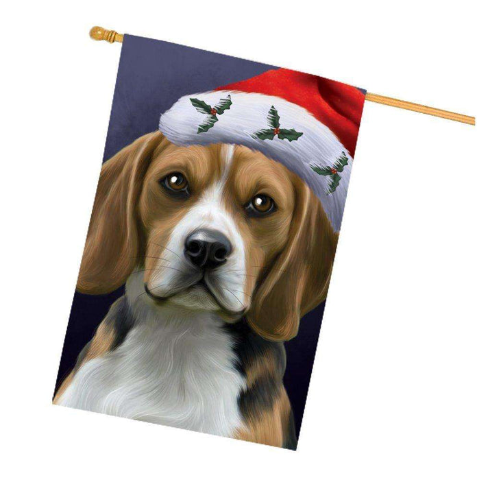 Christmas Beagles Dog Holiday Portrait with Santa Hat House Flag