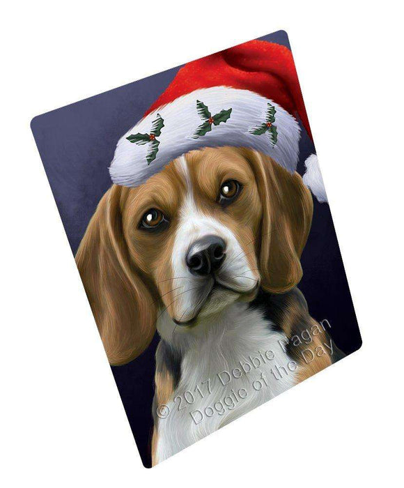 "Christmas Beagles Dog Holiday Portrait With Santa Hat Magnet Mini (3.5"" x 2"")"