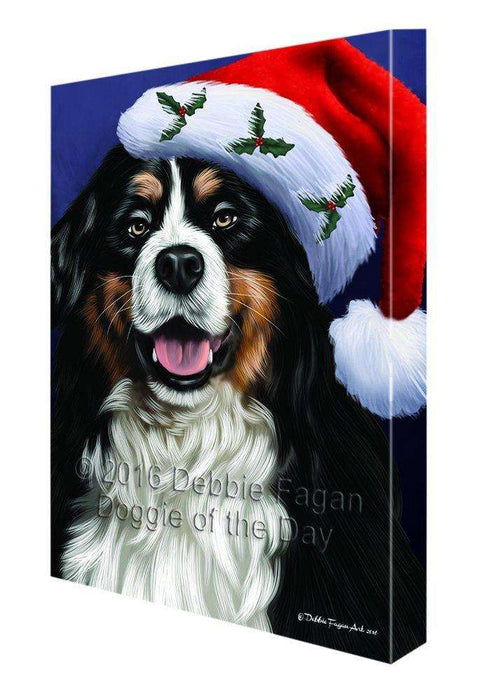 Christmas Bernese Dog Holiday Portrait with Santa Hat Canvas Wall Art D006