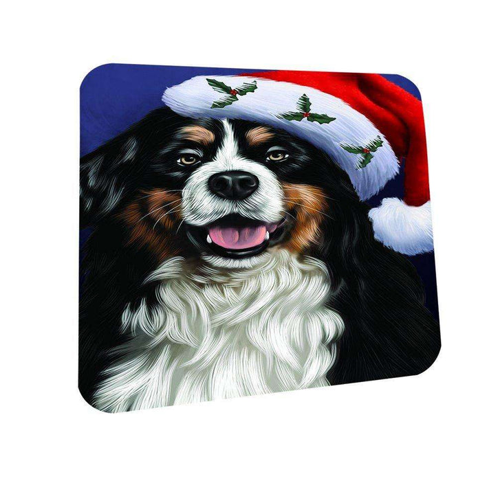 Christmas Bernese Dog Holiday Portrait with Santa Hat Coasters Set of 4