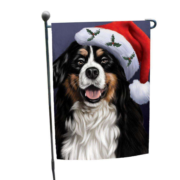 Christmas Bernese Dog Holiday Portrait with Santa Hat Garden Flag