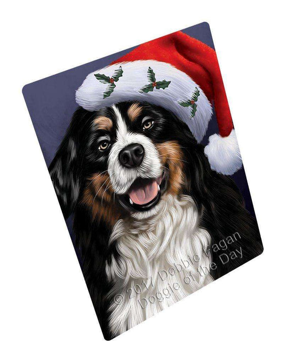 "Christmas Bernese Dog Holiday Portrait With Santa Hat Magnet Mini (3.5"" x 2"")"