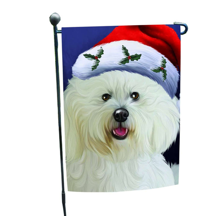 Christmas Bichon Dog Holiday Portrait with Santa Hat Garden Flag
