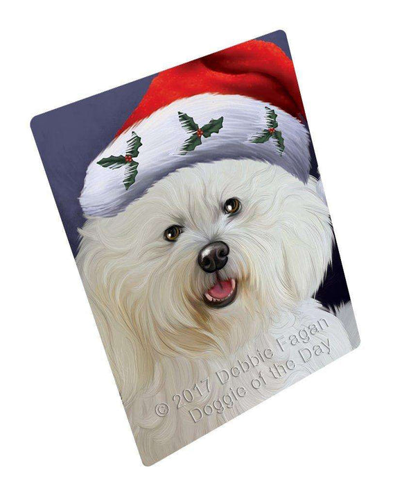 Christmas Bichon Dog Holiday Portrait with Santa Hat Magnet