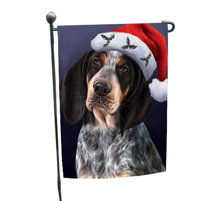 Christmas Bluetick Coonhound Dog Holiday Portrait with Santa Hat Garden Flag