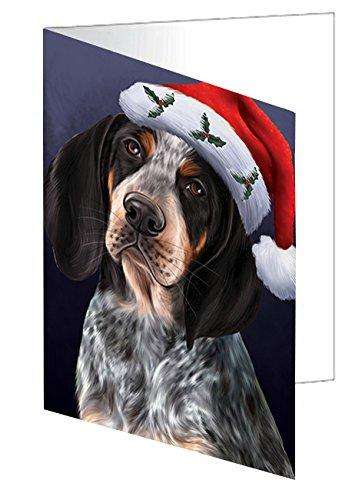 Christmas Bluetick Coonhound Dog Holiday Portrait with Santa Hat Note Card