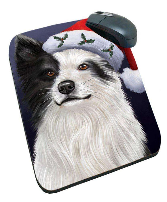 Christmas Border Collies Dog Holiday Portrait with Santa Hat Mousepad