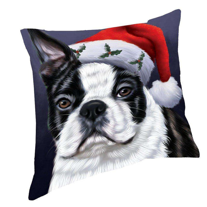 Christmas Boston Dog Holiday Portrait with Santa Hat Throw Pillow