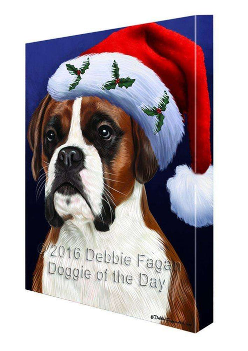 Christmas Boxers Dog Holiday Portrait with Santa Hat Canvas Wall Art D010