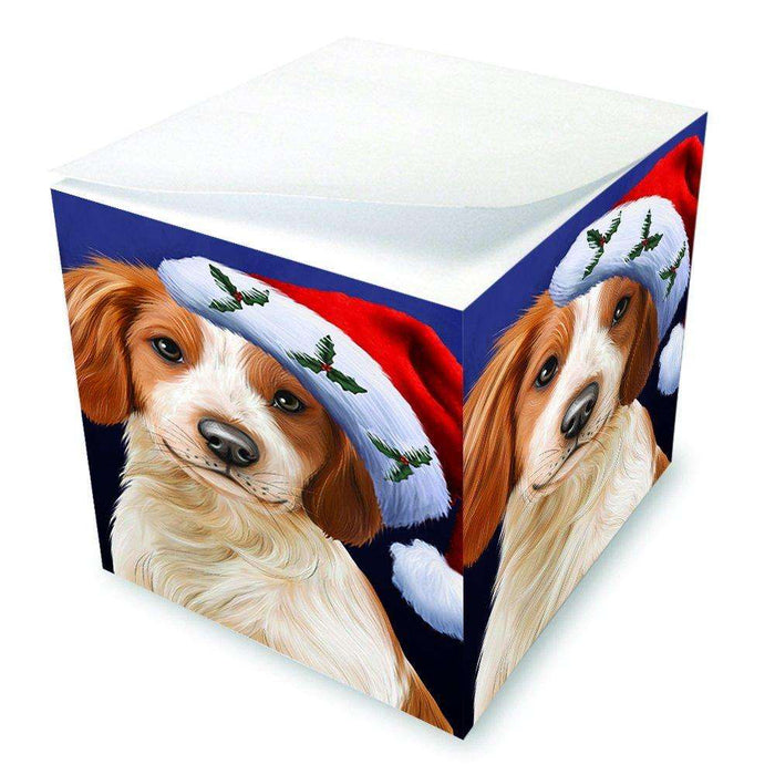 Christmas Brittany Spaniel Dog Holiday Portrait with Santa Hat Note Cube