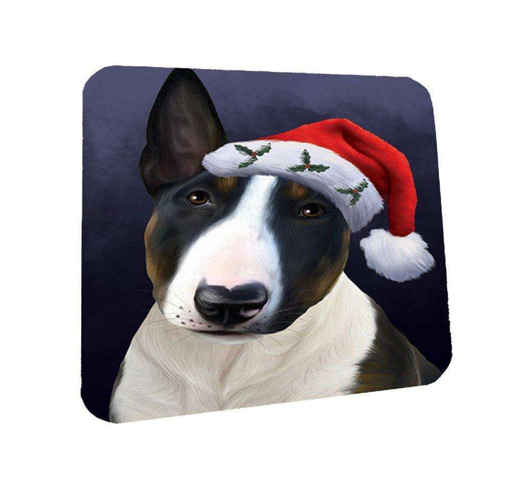 Christmas Bull Terrier Dog Holiday Portrait with Santa Hat Coasters Set of 4