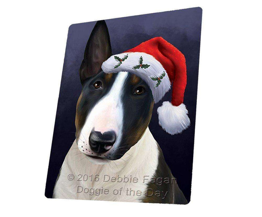 00229c6b112ff Christmas Bull Terrier Dog Holiday Portrait with Santa Hat Large Refri —  Doggie of the Day