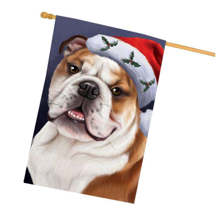 Christmas Bulldogs Dog Holiday Portrait with Santa Hat House Flag