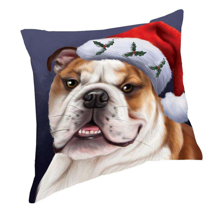 Christmas Bulldogs Dog Holiday Portrait with Santa Hat Throw Pillow