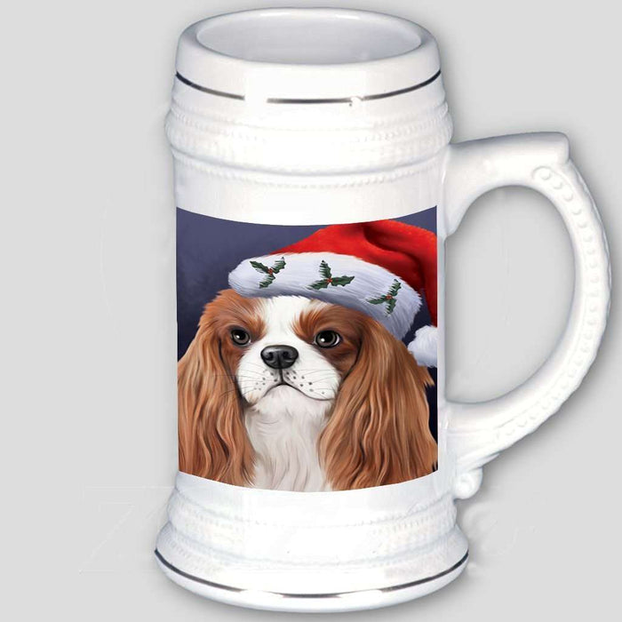 Christmas Cavalier King Charles Spaniel Dog Holiday Portrait with Santa Hat Beer Stein