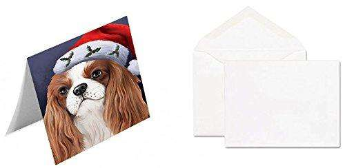 Christmas Cavalier King Charles Spaniel Dog Holiday Portrait with Santa Hat Note Card