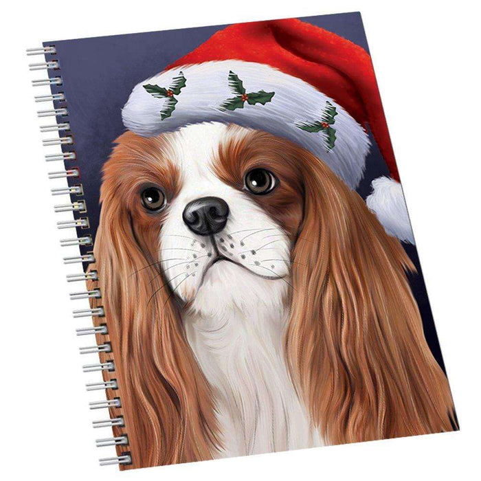 Christmas Cavalier King Charles Spaniel Dog Holiday Portrait with Santa Hat Notebook