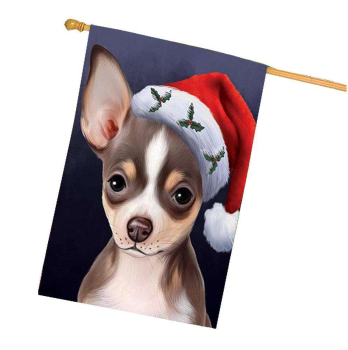 Christmas Chihuahua Dog Holiday Portrait with Santa Hat House Flag
