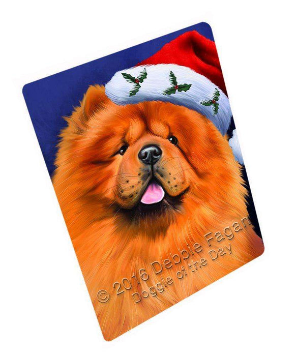 Christmas Chow Chow Dog Holiday Portrait with Santa Hat Art Portrait Print Woven Throw Sherpa Plush Fleece Blanket