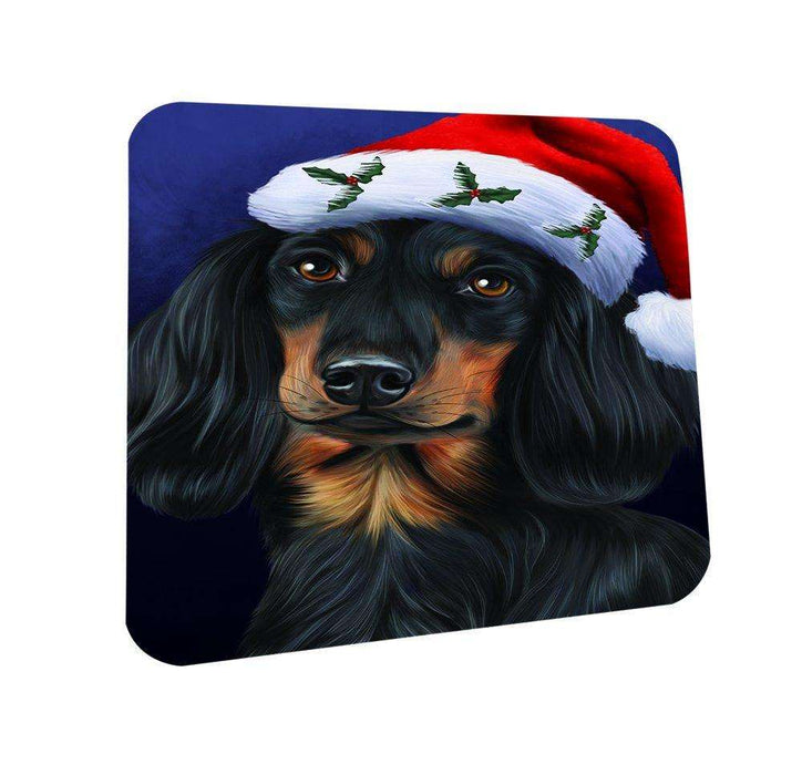 Christmas Dachshunds Dog Holiday Portrait with Santa Hat Coasters Set of 4