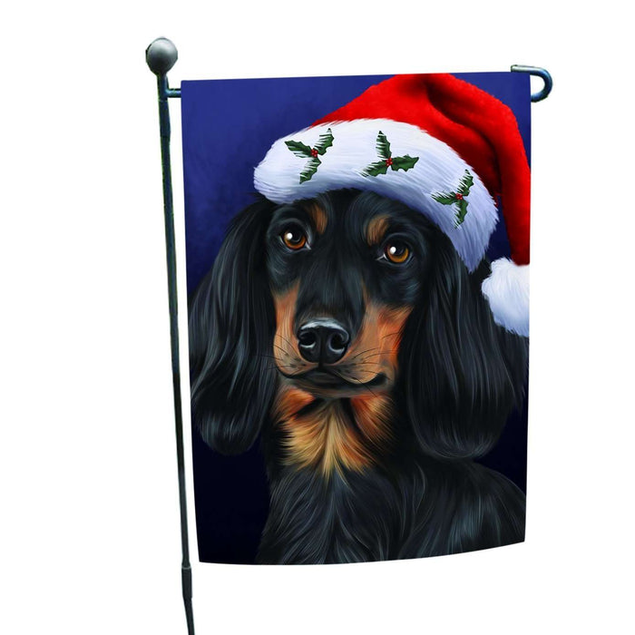 Christmas Dachshunds Dog Holiday Portrait with Santa Hat Garden Flag