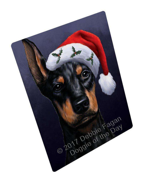 Christmas Doberman Dog Holiday Portrait with Santa Hat Magnet
