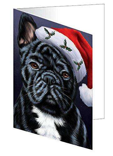 Christmas French Bulldogs Dog Holiday Portrait with Santa Hat Greeting Card