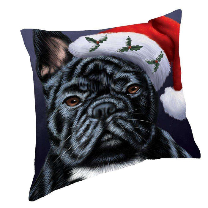 Christmas French Bulldogs Dog Holiday Portrait with Santa Hat Throw Pillow