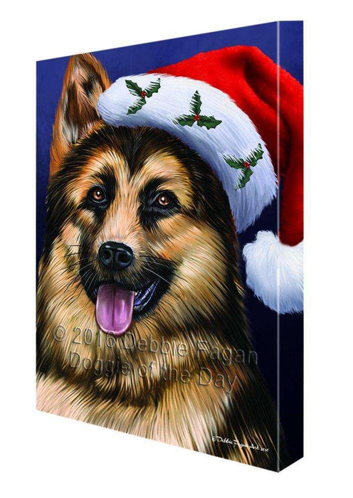 Christmas German Shepherd Dog Holiday Portrait with Santa Hat Canvas Wall Art D015