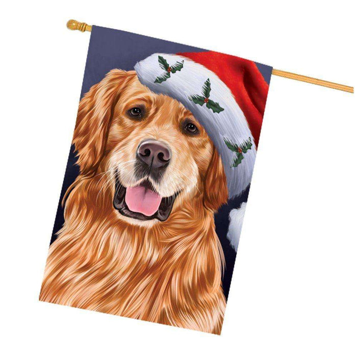 Christmas Golden Retrievers Dog Holiday Portrait with Santa Hat House Flag