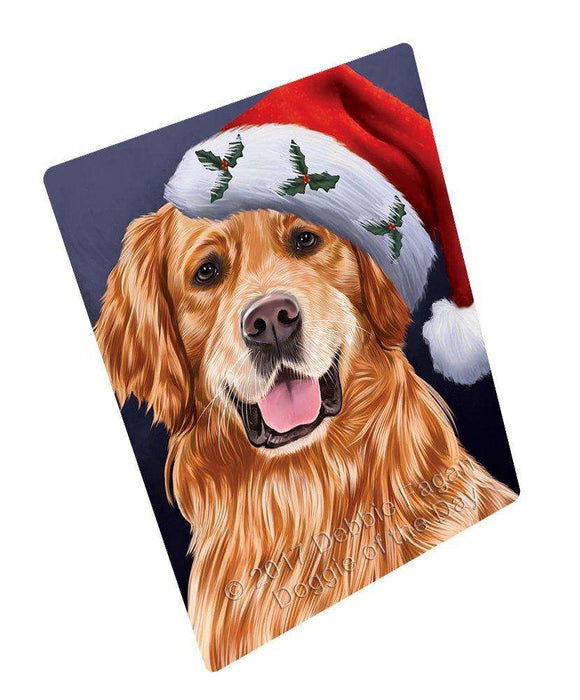 "Christmas Golden Retrievers Dog Holiday Portrait With Santa Hat Magnet Mini (3.5"" x 2"")"